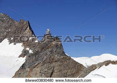"Stock Photography of ""Sphinx Observatory on Jungfraujoch, in front."