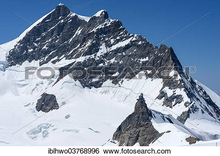 "Stock Images of ""Jungfraujoch saddle, behind the summit of Mt."