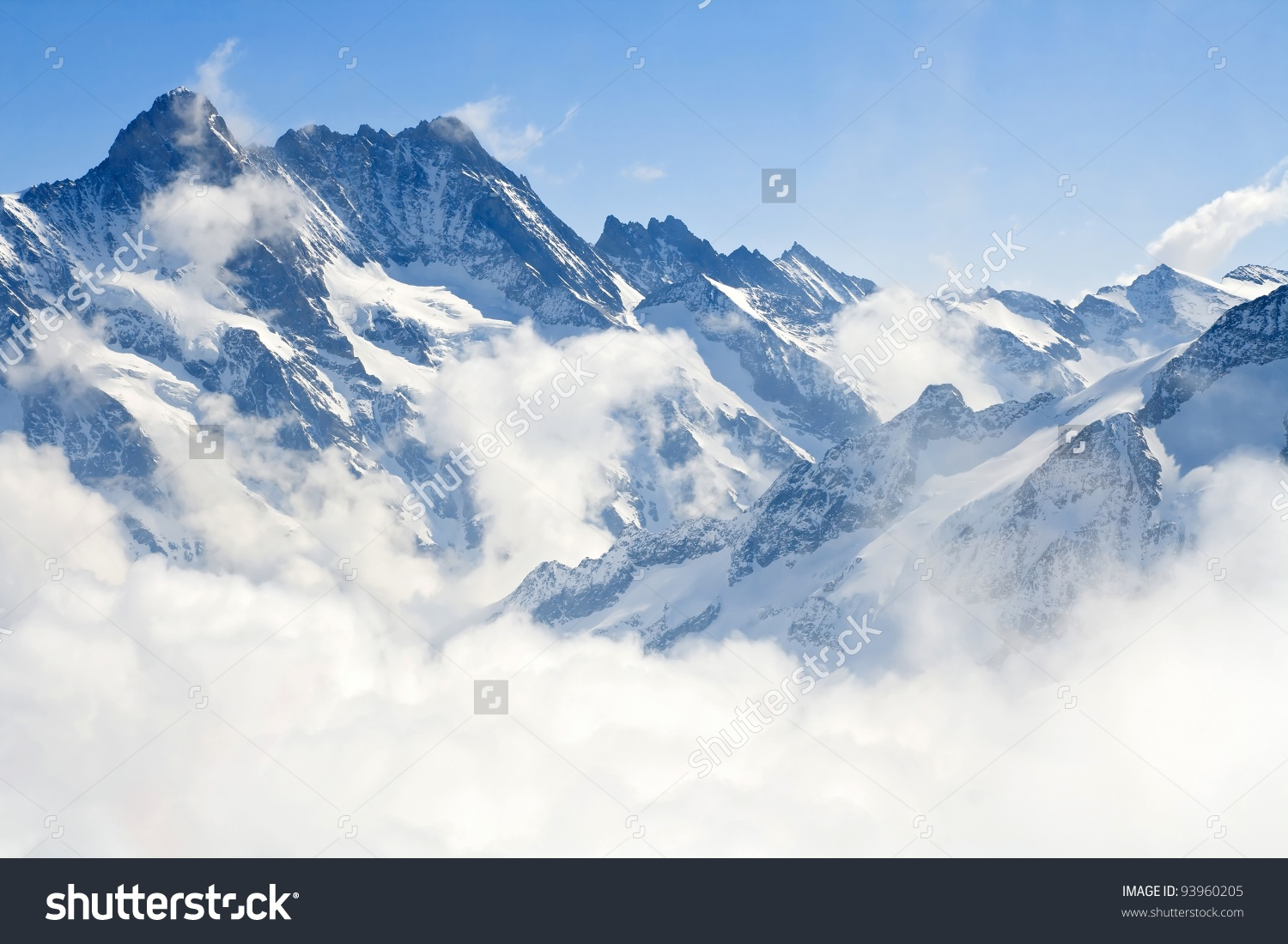 Alpine Alps Mountain Landscape Jungfraujoch Top Stock Photo.
