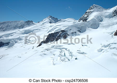 Stock Photography of Crevasses, ice and snow nearby Jungfraujoch.
