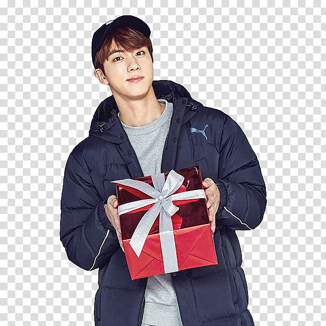 BTS CHRISTMAS , man holding red gift box transparent.