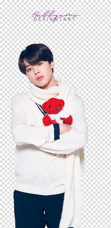 BTS LG Christmas, man hugging red bear plush toy transparent.