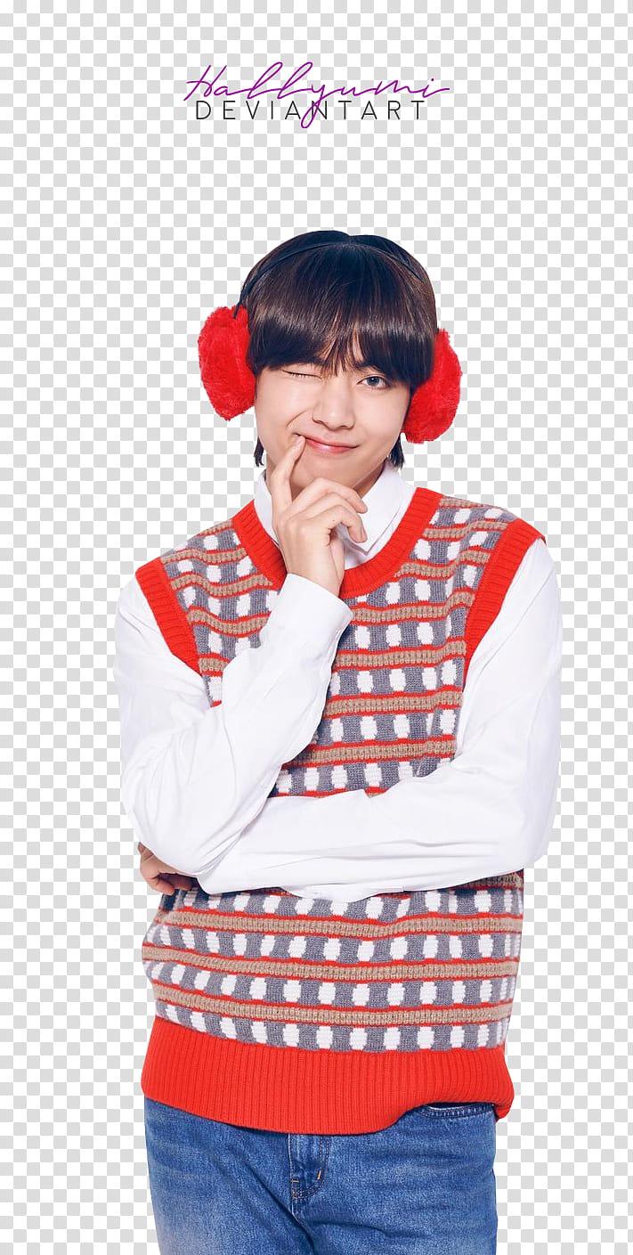 BTS LG Christmas, BTS V transparent background PNG clipart.