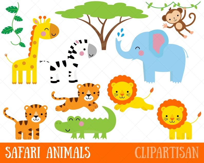 Safari Animals Clipart / Printable Jungle Animal Clip Art / Monkey /  Giraffe / Elephant / Crocodile / Lion / Tiger / Zebra.