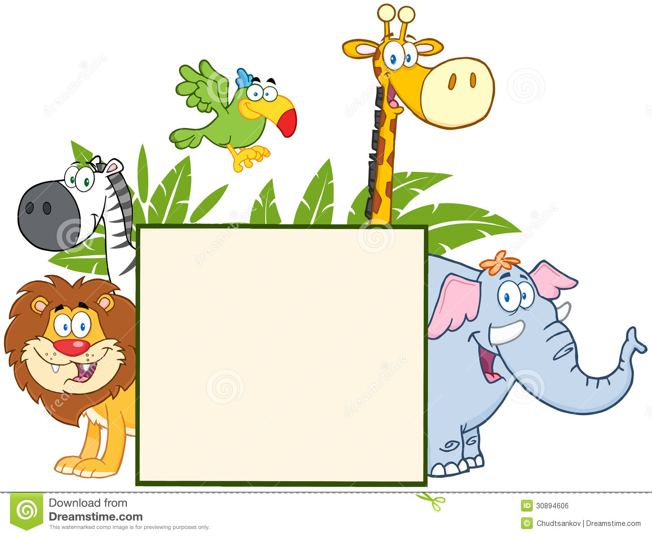 Showing post & media for Cartoon jungle animal clip art borders.