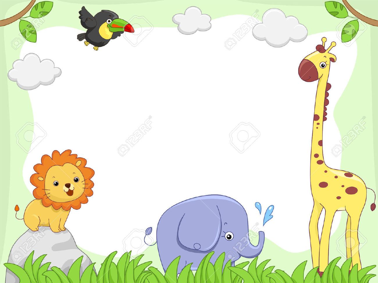 Jungle Animals Border Clipart.