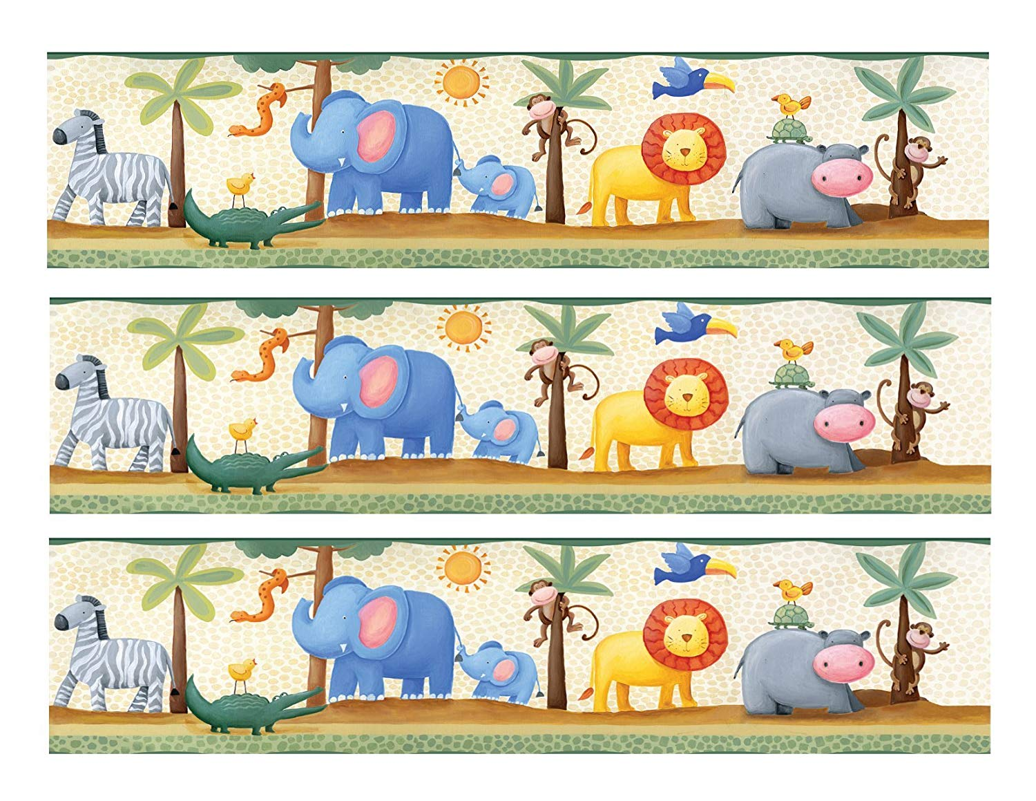 Jungle Animals cake Edible Icing Image border strips (3 Strips).