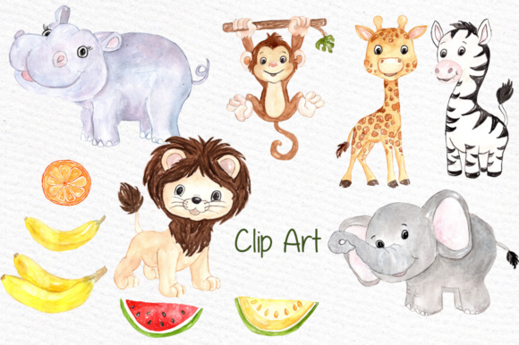 Watercolor Safari animals clipart Kids Jungle Animals clipart.
