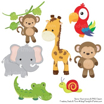 Wild Friends Cute Jungle Animals Clipart & Vectors.