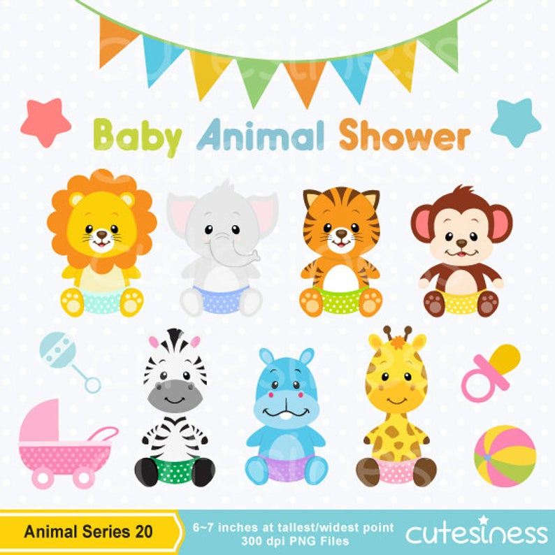 Baby Animal Clipart , Baby Animal Clip art, Baby Jungle Animals Clipart,  Baby shower Clipart.