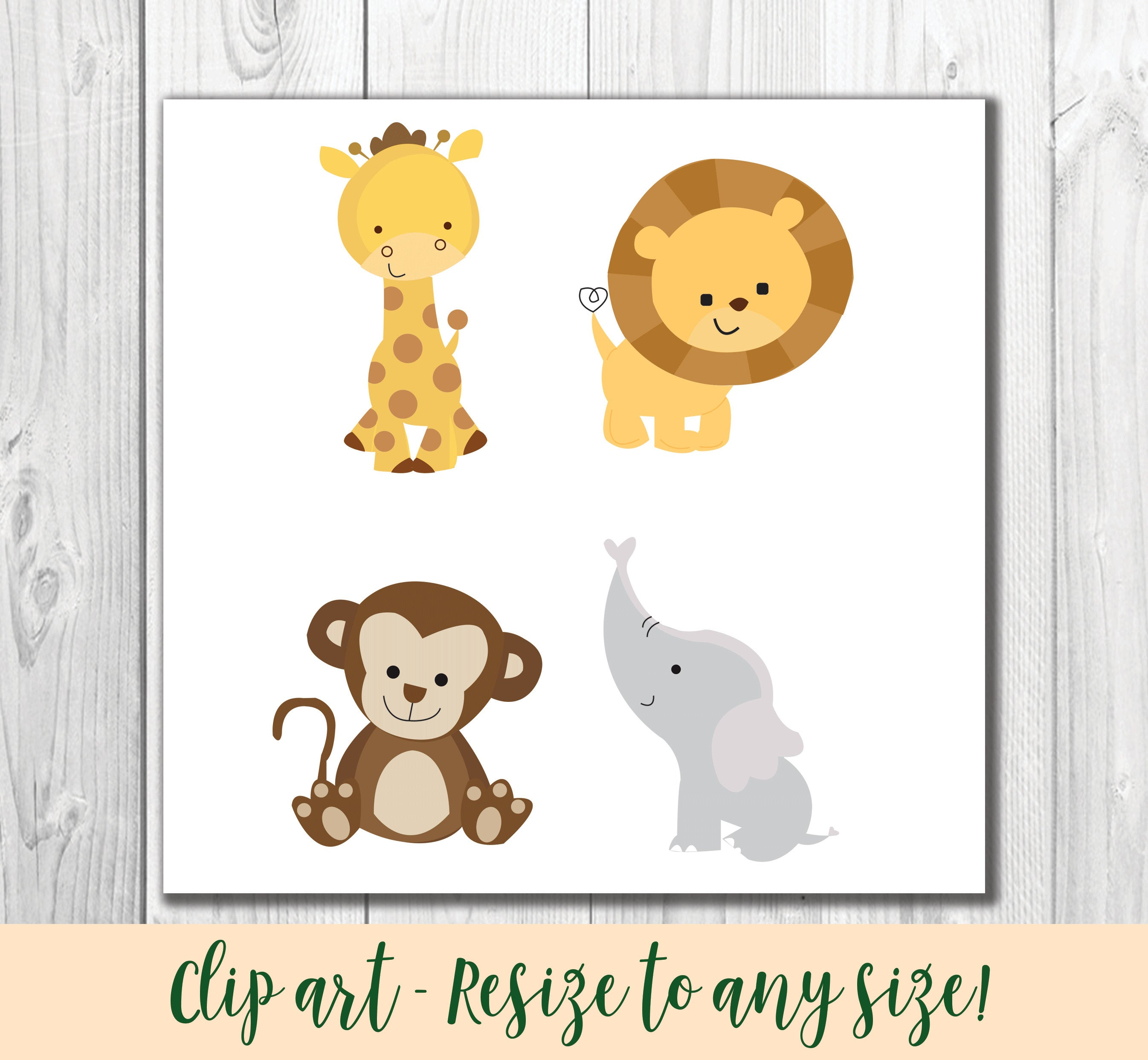Jungle Baby Animals Clipart.