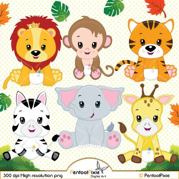 Jungle animal clipart, Baby animals, Safari clipart.