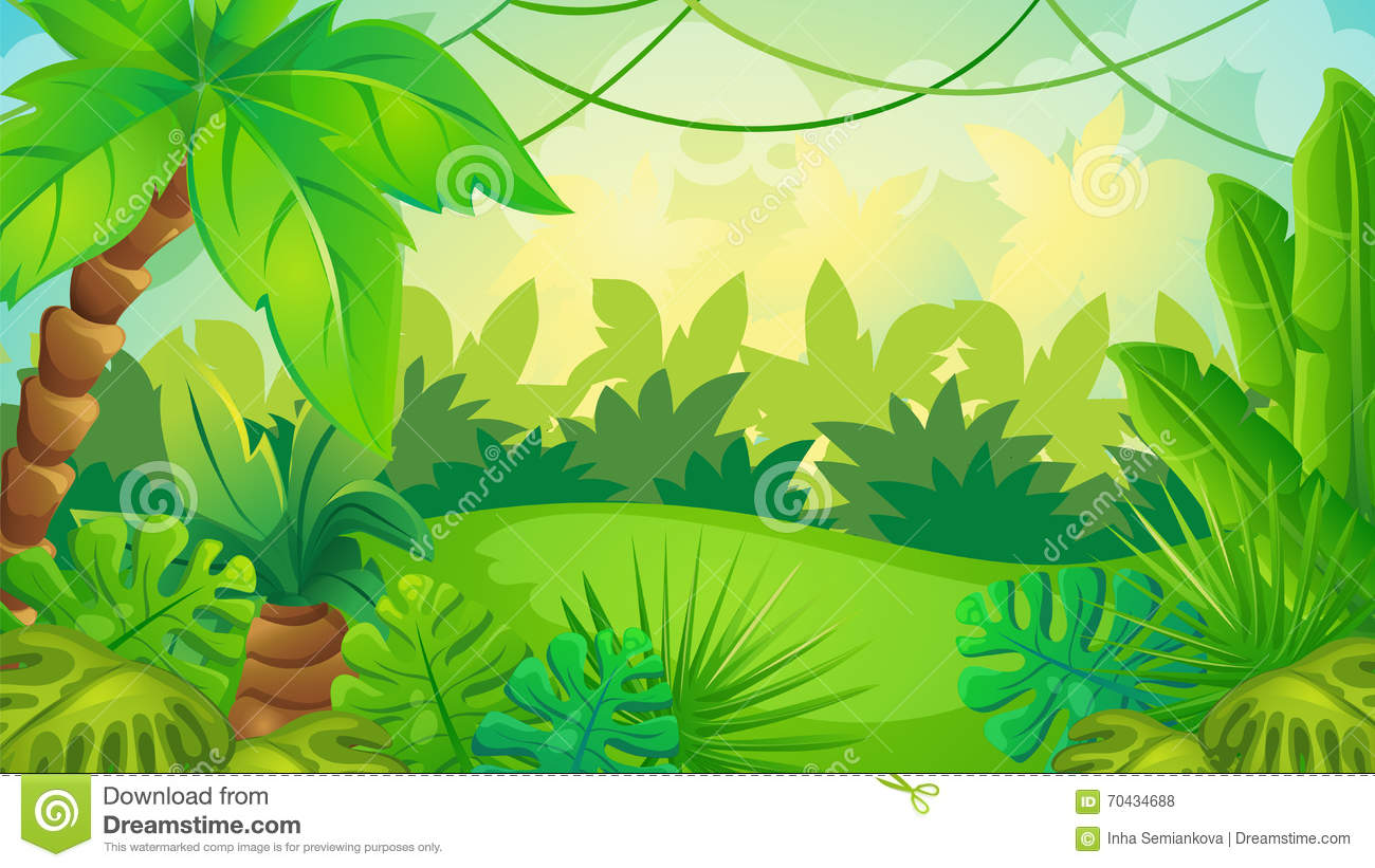 Cartoon Jungle Game Background Stock Vector.