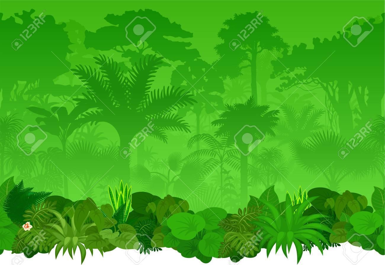 seamless tropical rainforest Jungle background.