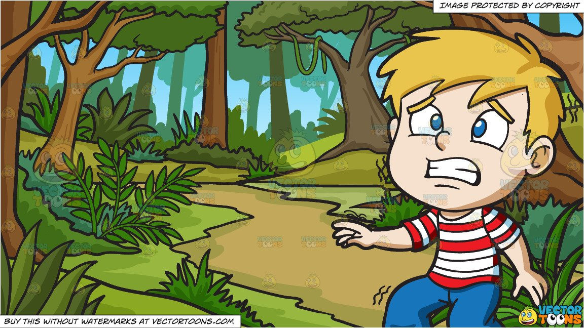 A Boy Stunned In Horror and A Lush Jungle Background.