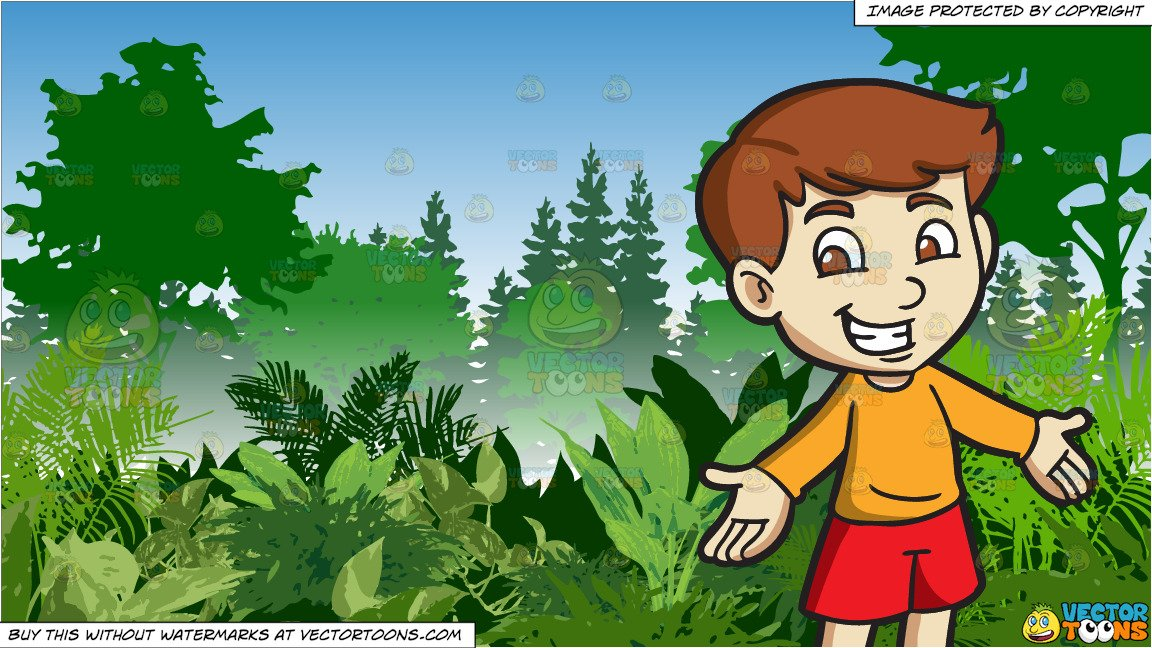 A Cheerful Boy and Lush Green Jungle Background.