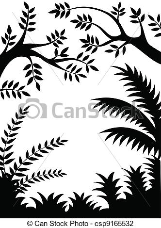 Vector Illustration of Jungle silhouette.