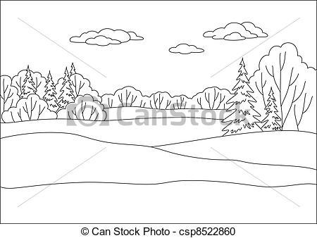 Vector Clipart of Landscape, winter forest, contours.