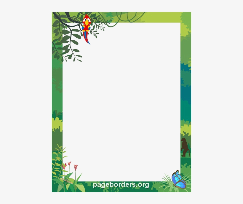 Png Black And White Stock Jungle Border Clipart.
