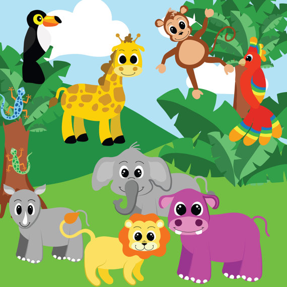 Jungle animals clipart Jungle clip art Digital clipart.