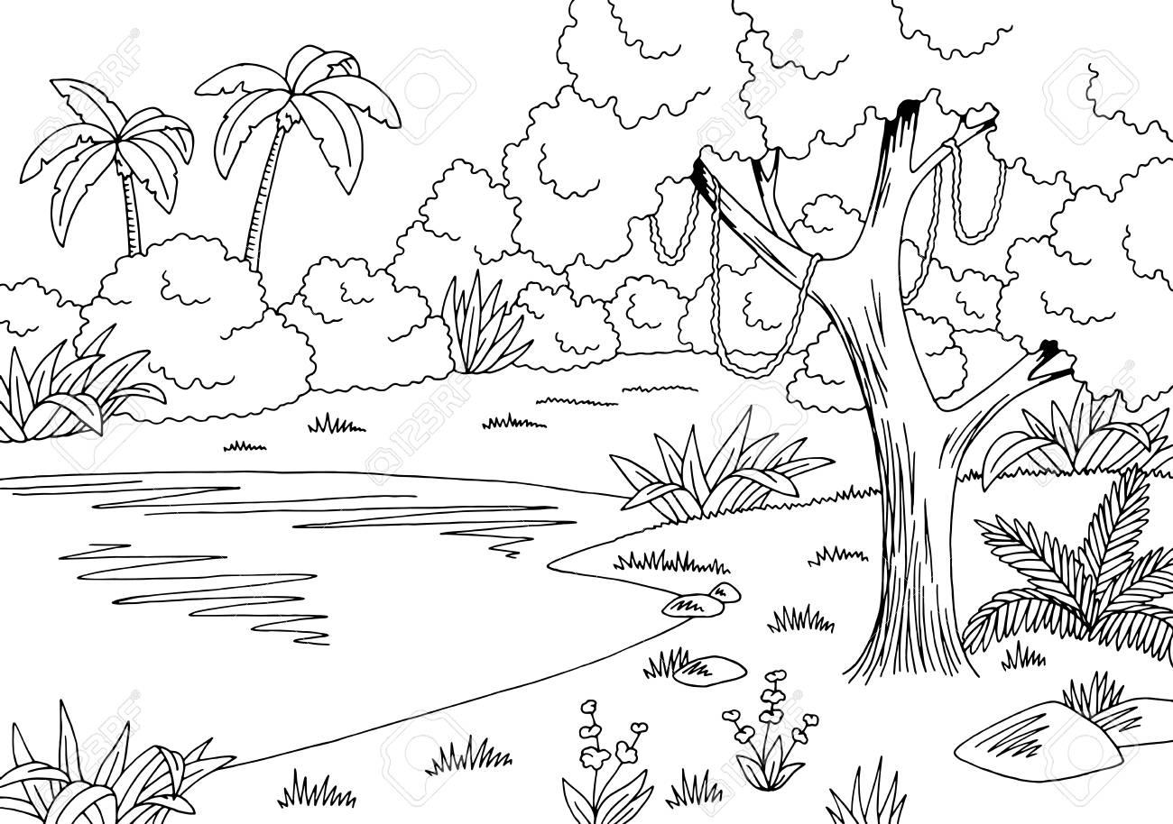 Jungle lake graphic black and white sketch illustration vector..