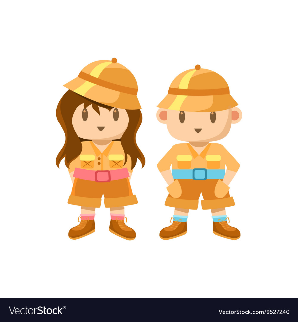 Boy And Girl Dressed As Jungle Explorers.