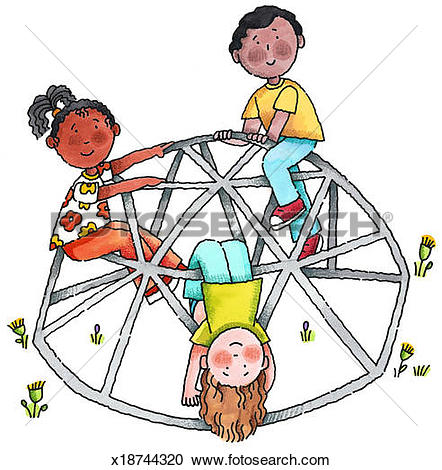 Stock Illustrations of Kids on Jungle Gym x18744320.