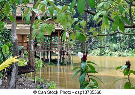 Stock Illustration of Stilt House in the Jungle Indonesia Batam.