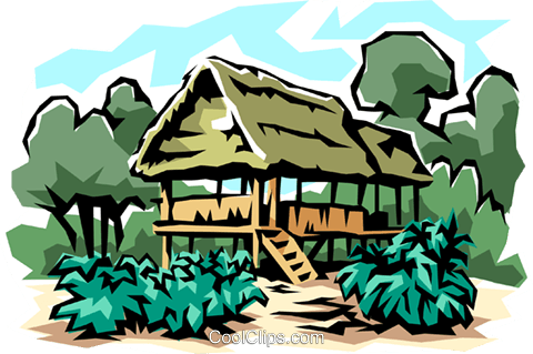 Jungle house Royalty Free Vector Clip Art illustration.