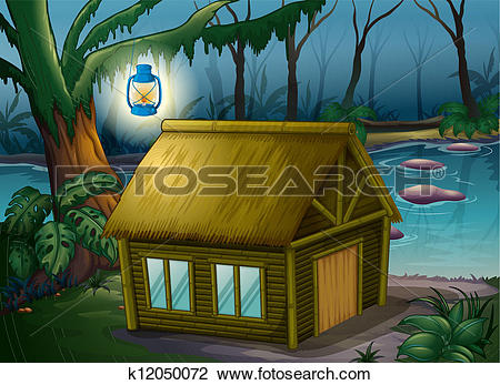 Clipart of A bamboo house in the jungle k12050072.
