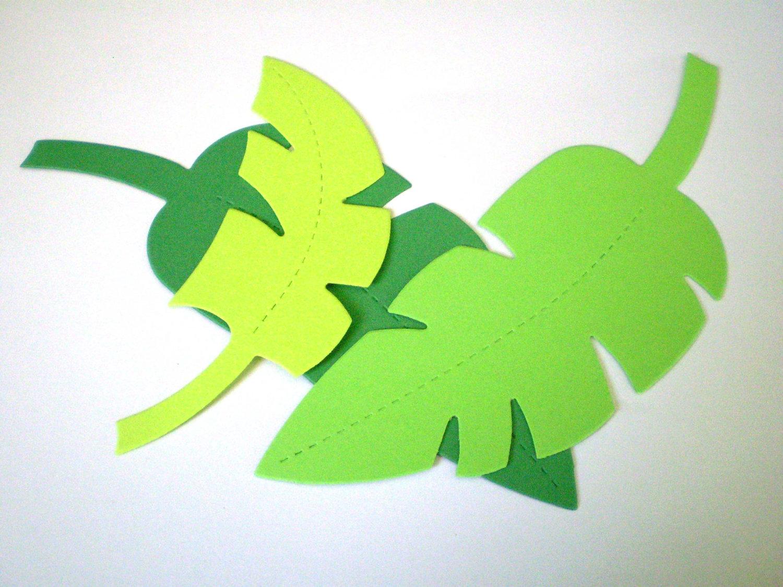 Large/Medium Green Die Cut Jungle Leaves.
