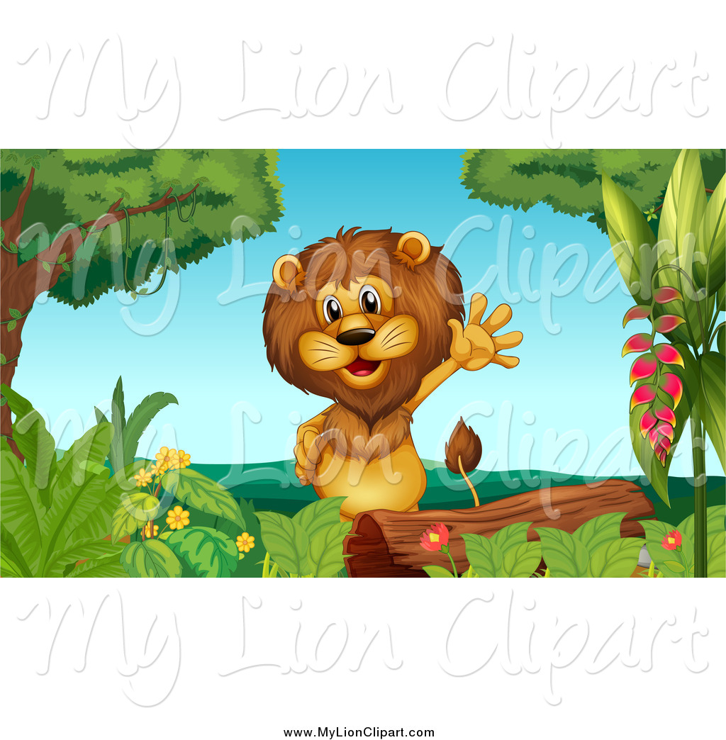 Clipart of a Male Lion Waving by a Log in a Jungle by colematt.