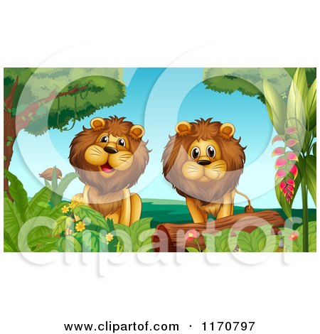 Cartoon of Two Male Lions in the Jungle.