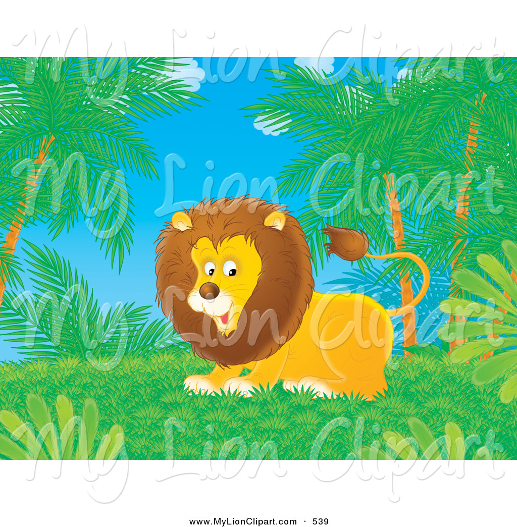Clipart of a Playful Lion in a Jungle by Alex Bannykh.