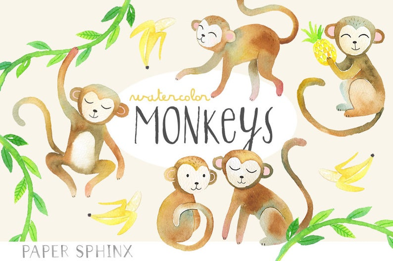 Watercolor Monkeys Clipart.