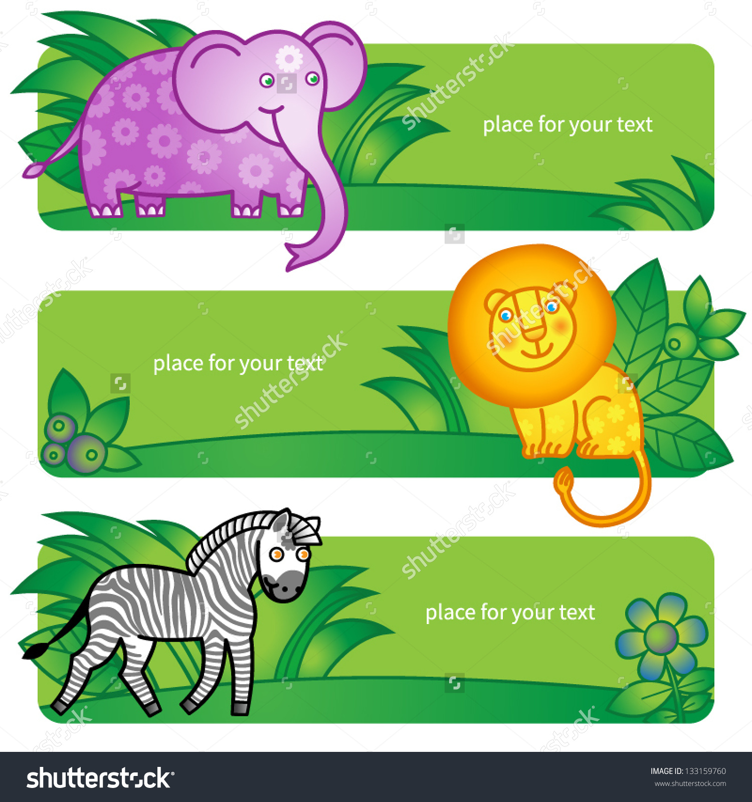 Bright Cards With Cute Animals From Jungle. Place For Your Text.