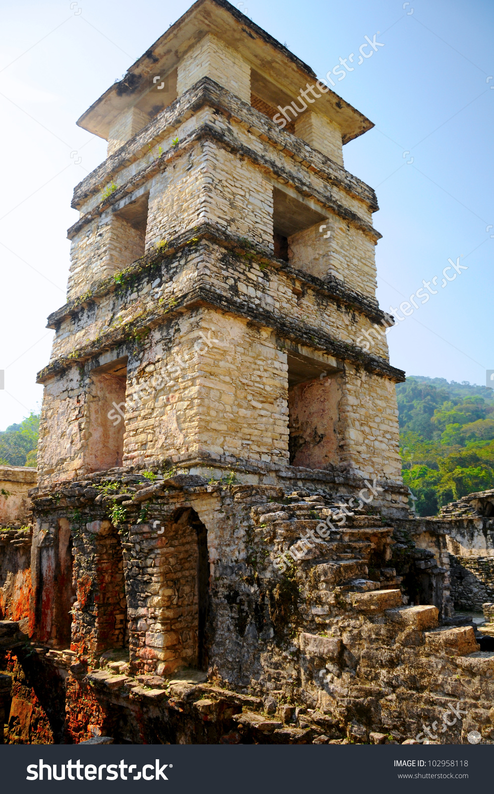 Palenque Palace Fourstory Tower Palenque Maya Stock Photo.