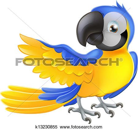 Clipart of A parrot at the jungle standing above the stump.