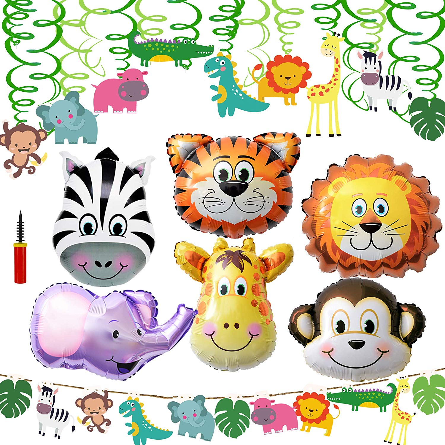 Supla VBS Safari Jungle Animals Hanging Decorations Green Safari Party  Forest Animal Theme Supplies for Baby Shower Kids 1st Birthday Nursery  School.