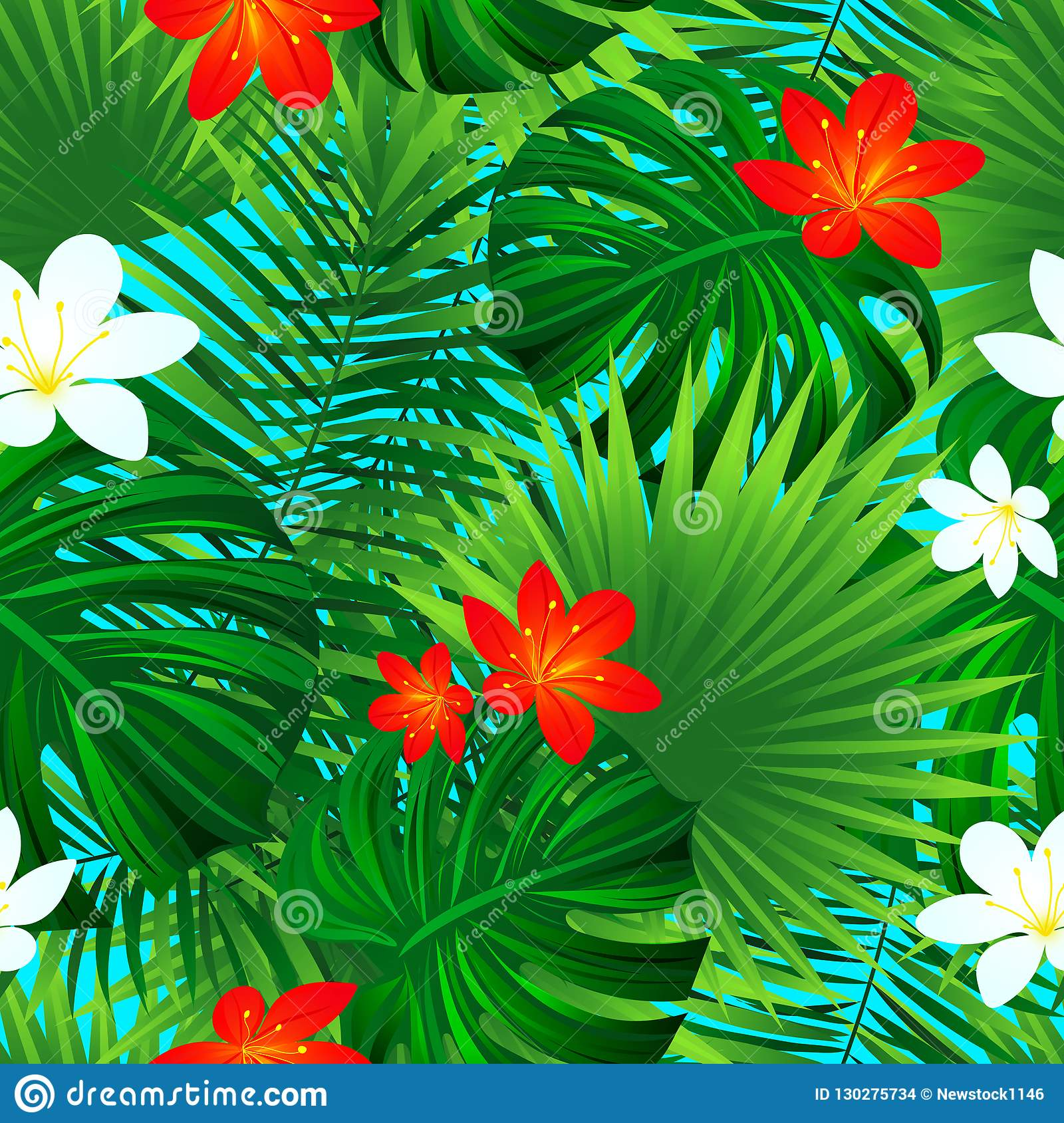 Floral Seamless Pattern. Vector Tropical Repeated Texture. Exotic.