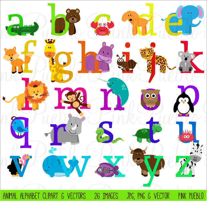 Animal Alphabet Font with Safari Jungle Zoo Animals by PinkPueblo.