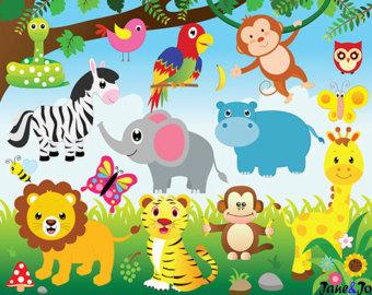 Items similar to Jungle Clip Art, Sfari, Zoo, Hand Drawn Animals.