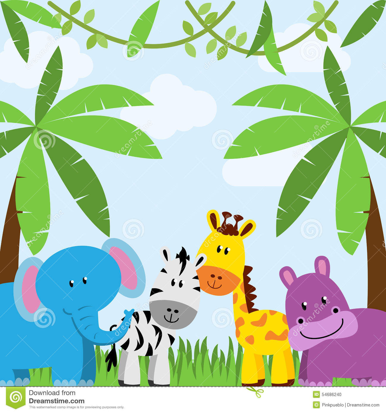 Zoo theme clipart background.