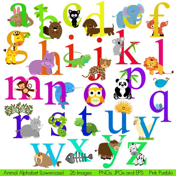 Animal Alphabet, Font with Safari Jungle Zoo Animals, Lowercase.