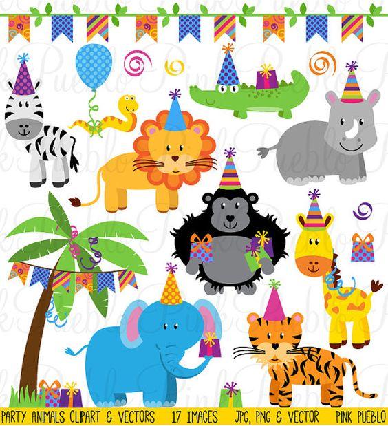 Birthday Party Animals Clipart Clip Art, Zoo Safari Jungle Animals.