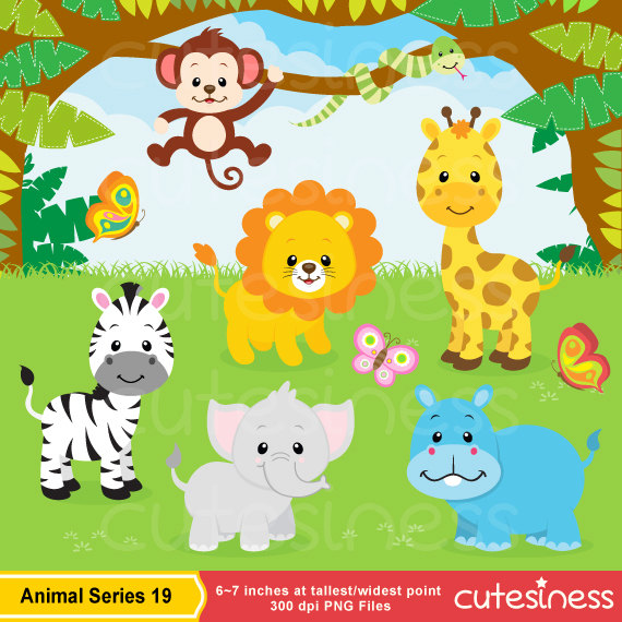 Jungle Animal Clipart , Baby Animals Clipart, Safari Clipart , Zoo.