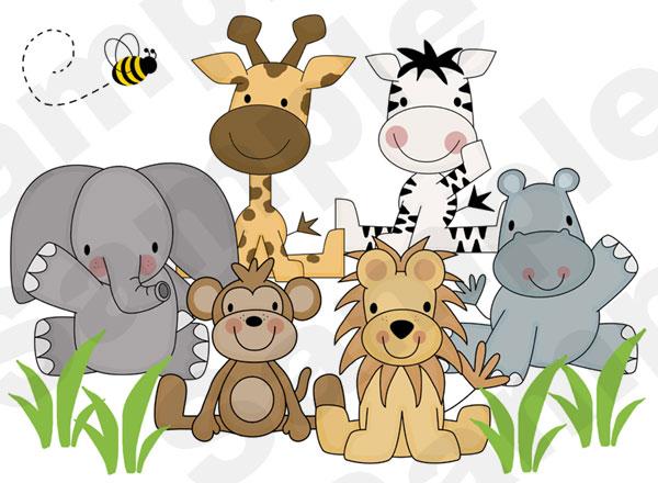 Jungle Animals Wall Mural for baby boy girl nursery or kids room.