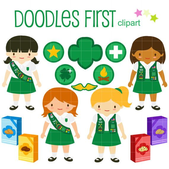 Junior Girl Scouts Clip Art for Scrapbooking Card Making.