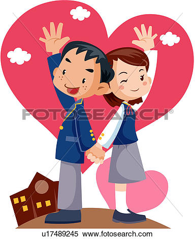 Clipart of middle school, coeducation, upper secondary school.