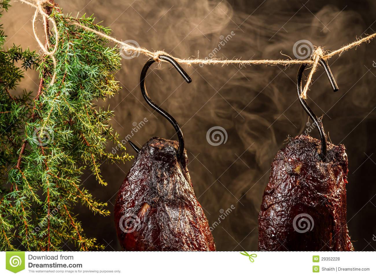 Smoked Ham With Juniper Smoke Royalty Free Stock Photos.